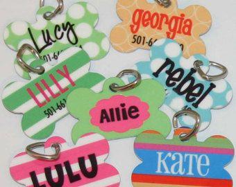 Personalized Dog Tag Custom Pet Name Tag by KandyRiggsDesigns