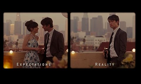 500 days of summer: Expectations Reality, Romantic Movie, Movie Scene, Real Life, Summer Movie, Reality Check, Favorite Movie, Expectations Vs Reality, Reality Bites
