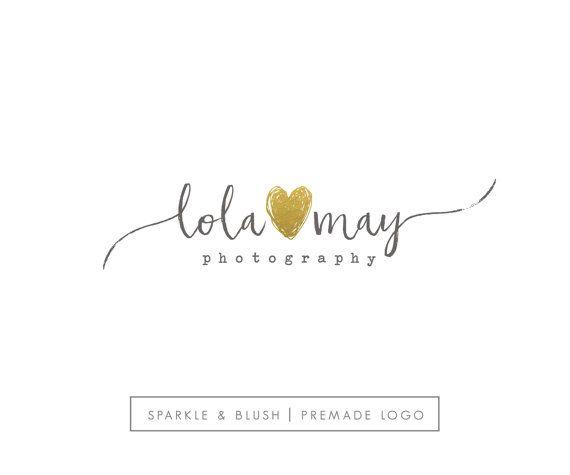 Premade Photography Logo - Etsy Shop Branding - Gold Foil Heart Photographer Blogger Small Business Design Pretty Cursive Signature
