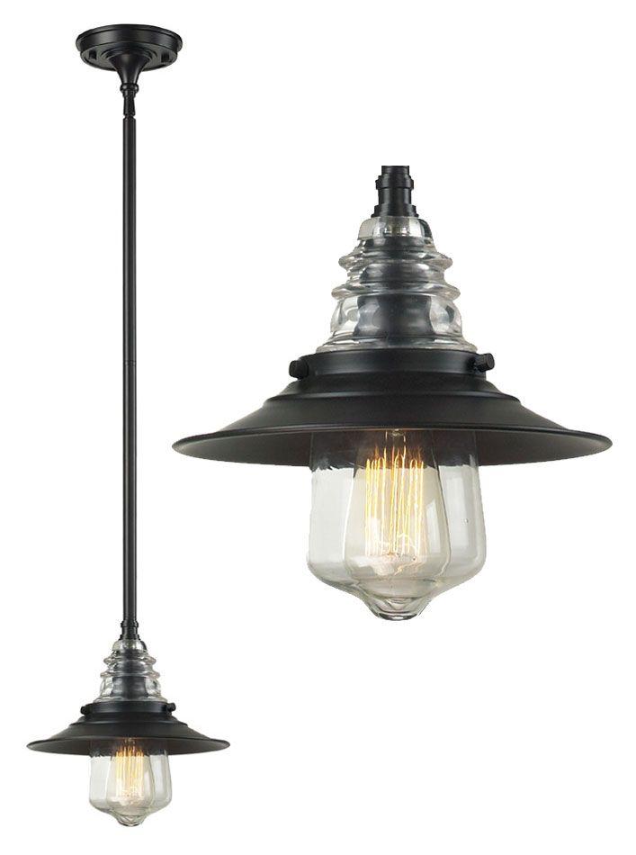 Landmark 66817-1 Insulator Glass Oiled Bronze Vintage Mini Pendant Lamp - LAN-66817-1
