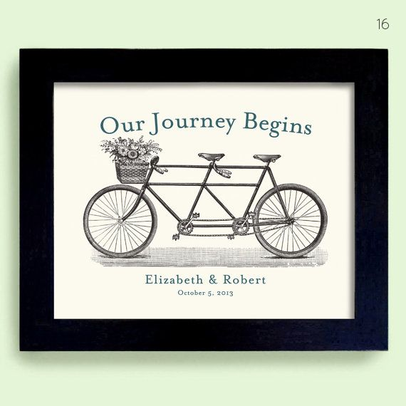 bicycle themed wedding art print ? For next to wedding cake or card table