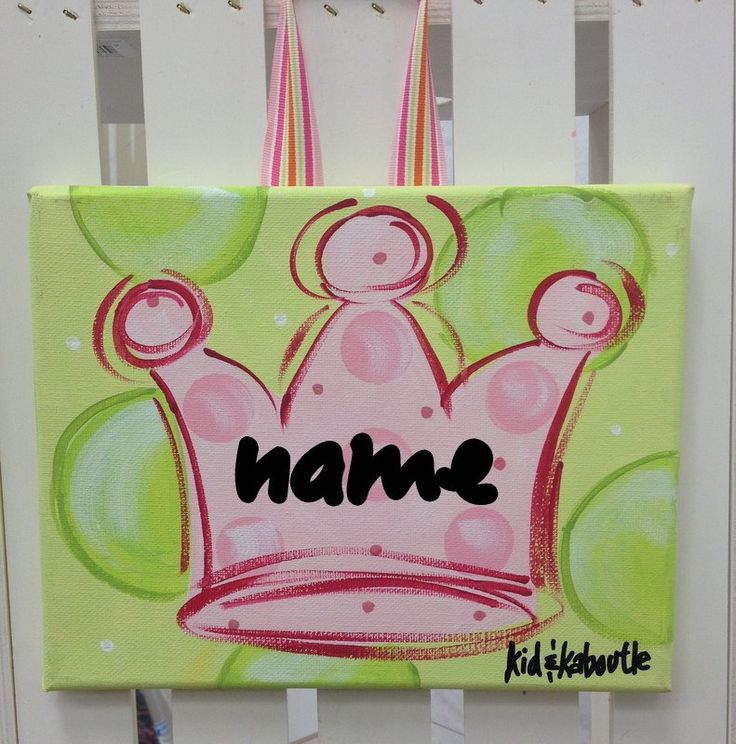 """8x10"""" Pink Princess Crown Door Hanger, Girls Princess room Decor, Hand Painted Personalized Canvas by KristinBoutinDesigns on Etsy"""