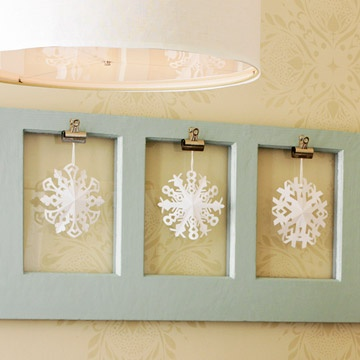 Hanging Snowflakes          What You Have: snowflake cutouts, clips          Snowflake cutouts reminiscent of Christmas celebrations past can be put to good use -- hang them from a wall, a frame, or a window for an indoor touch of winter wonderland.