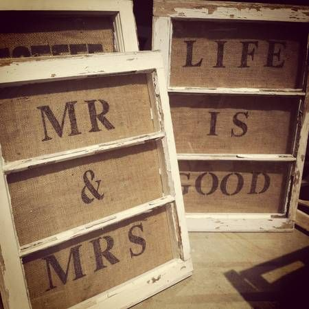 Old windows with burlap behind; perfect for vintage wedding signs, window family home decor; Upcycle, Recycle, Salvage, diy, thrift, flea, repurpose!