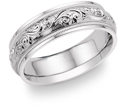 Fancy Paisley Design White Gold Wedding Band Ring Platinum
