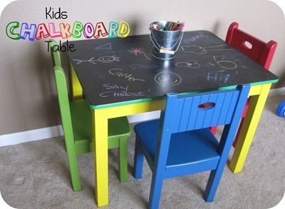 DIY Chalkboard table-this would be a great idea for the LACK table we bought at IKEA for the playroom...