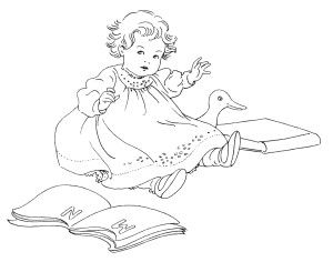 Free Vintage Image ~ Baby with Books Clip Art