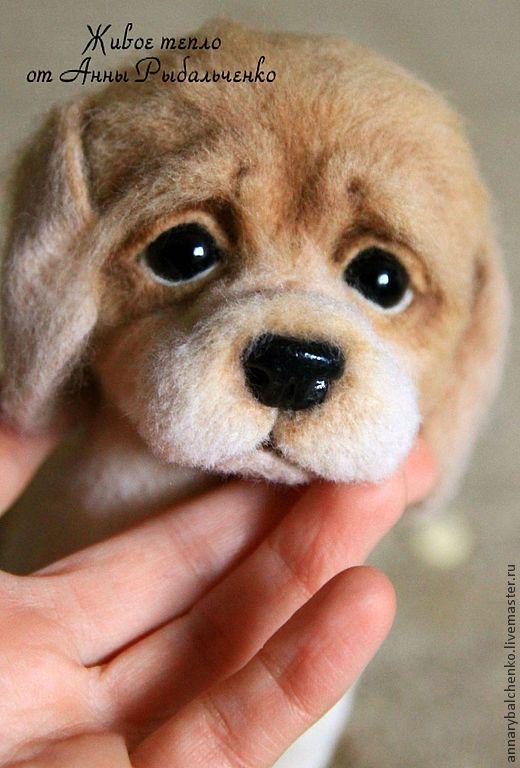 Купить Гаврюша - бежевый, белый, коричневый, щенок, собака, собака из шерсти, собачка, щеночек