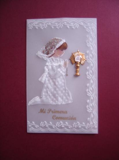 estampa , recuerdo , primera  comunion estampa de primera comunion papel  pergamino 180grs.,diamantina  tizas pastel,acrilico repujado,pintado