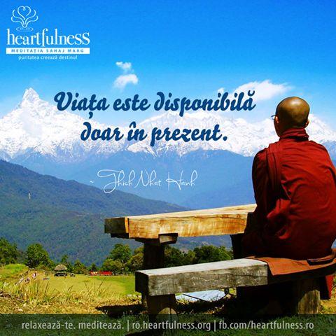 Viața este disponibilă doar în prezent. ~ Thich Nhat Hanh #heartfulness #knowbyheart #hfnro Heartfulness Romania - Cronologie | Facebook