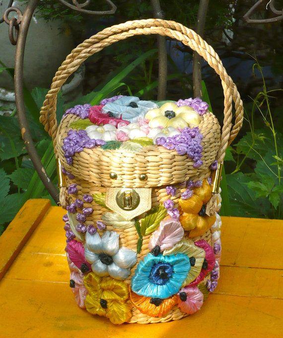 Purse Vintage Handbag Straw Purse Mantessa Barrel Purse