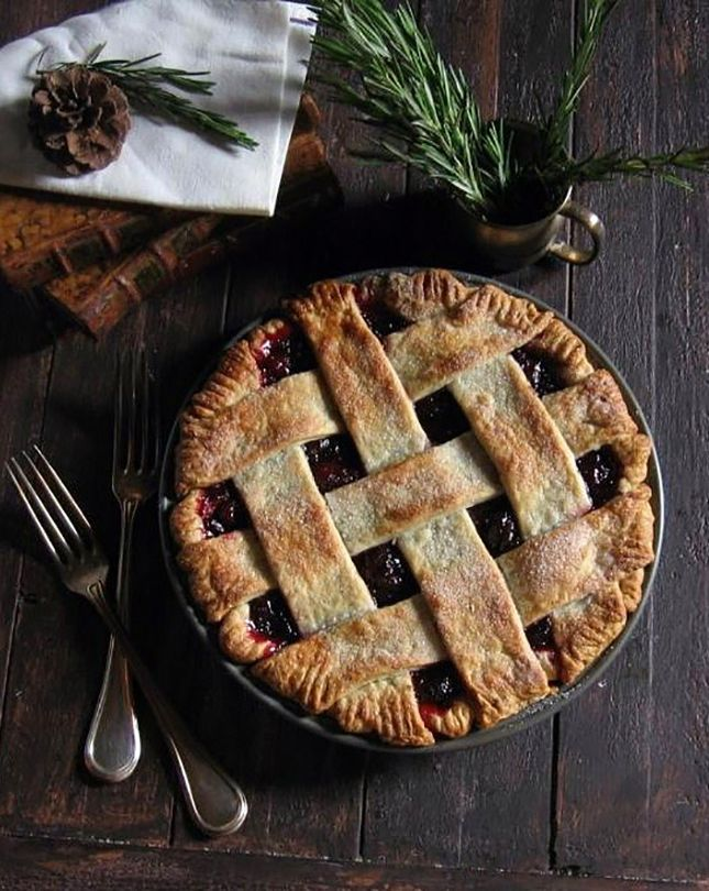 Cranberry Pie with Rosemary Buttermilk Crust.