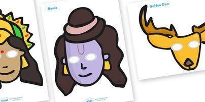 Twinkl Resources >> Diwali Role Play Masks >> Classroom printables for Pre-School, Kindergarten, Primary School and beyond! role play mask, role play, rama, sita, Diwali, religion, hindu, hanoman, rangoli,ravana, pooja thali, rama, lakshmi, golden deer, diva lamp, sweets, new year, menhdi, fireworks, party, food,