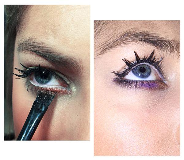 1.Begin met een basislaagje neutrale oogschaduw.  2. Gebruik een licht oogpotlood (wit, beige, rosé) op binnenkant van het oog.  3. Gebruik een oogschaduwkit met vier verschillende kleuren. De meest lichte kleur gaat tegen de binnenkant van je oog, werk verder richting de buitenkant met gradueel donkerdere kleuren. Ga niet te laag onder je oog, dat zou het gevreesde panda effect opleveren.