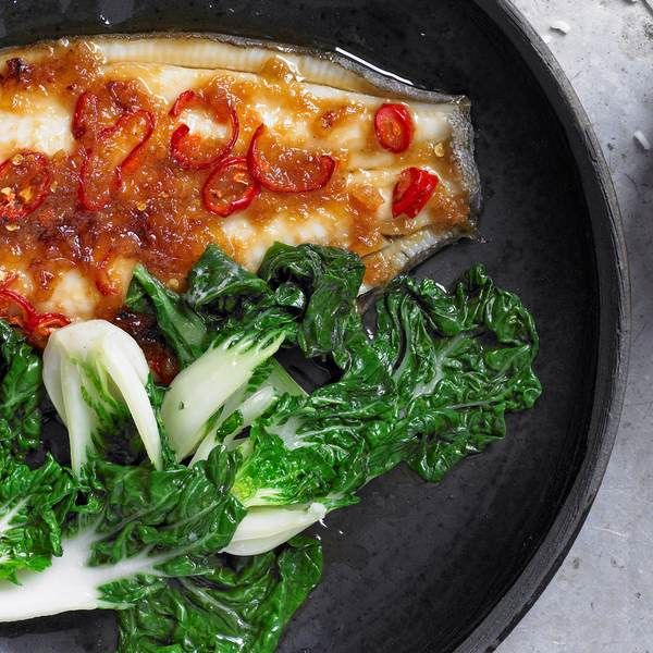 Ginger lemon sole with Chinese greens