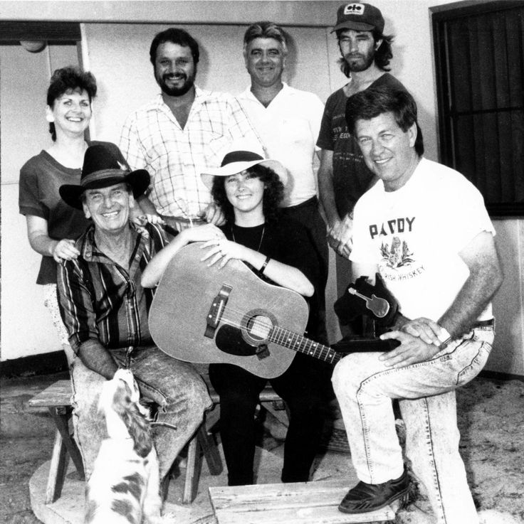 Lindsay Butler Studios - History Pin 3 - Here we all are out the front of the newly renovated Lindsay Butler Studio Kootingal - 1991. Photo courtesy NDL  Front Row L~R: Brian Young OAM, Shaza Leigh & Lindsay Butler OAM Back Row L~R: Val Butler, Poe Steadman, Bob Corbett & Russell ?  #ShazaLeigh, #LindsayButler, #LBSMusic, #australiancountrymusic, #NDL