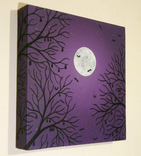 Moonlit Bats Painting by konyskiw on Etsy. ^..^