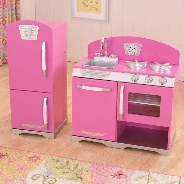 KidKraft Retro Kitchen And Refrigerator In Bubblegum At Lowest Price Ever!