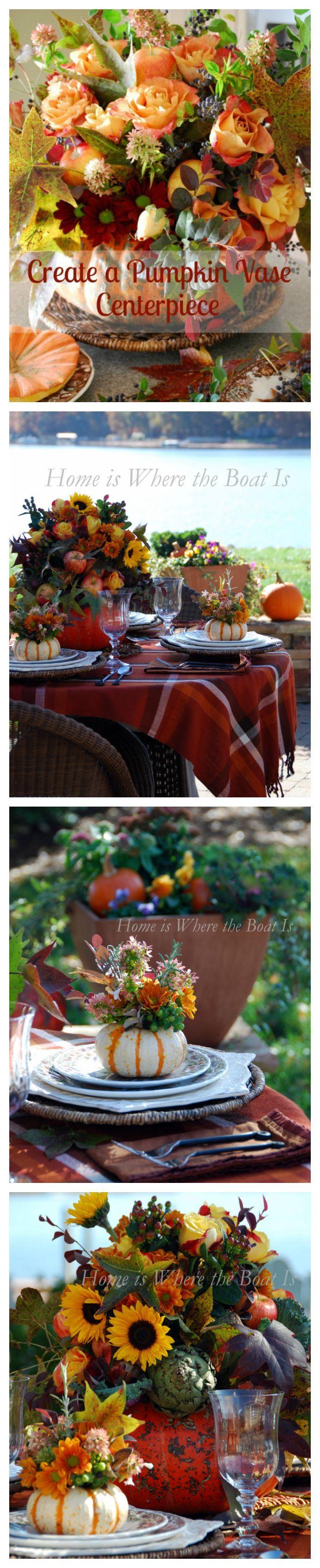 Create a pumpkin vase centerpiece thanksgiving diy