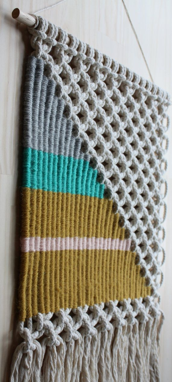 Macrame Weaving Wall Hanging / Large Triangle by KateAndFeathermacrame