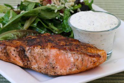 Recipe for Market Street Grill Creamy Cucumber-Dill Sauce for Fish; this sauce is amazing! [from Kalyn's Kitchen] #LowCarb #GlutenFree #SouthBeachDiet