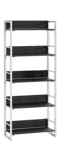 Boekenkast GELSTED 5 schappen zwart/zilv | JYSK