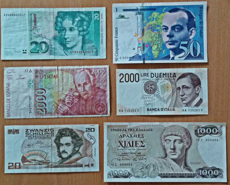 A selection of national currencies before the circulation of EUR. German Mark (20), Freech franc (50), Spanish pesetas (2,000), Italian lire (2,000), Austrian Schilling (20), Greek drachma (1,000)