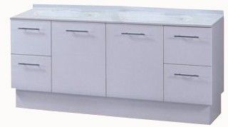 Bronte Vanity With Chrome Handle On Kickboard, Double Bowl 1500mm
