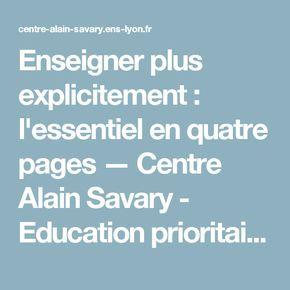 Enseigner plus explicitement : l'essentiel en quatre pages — Centre Alain Savary - Education prioritaire - ifé