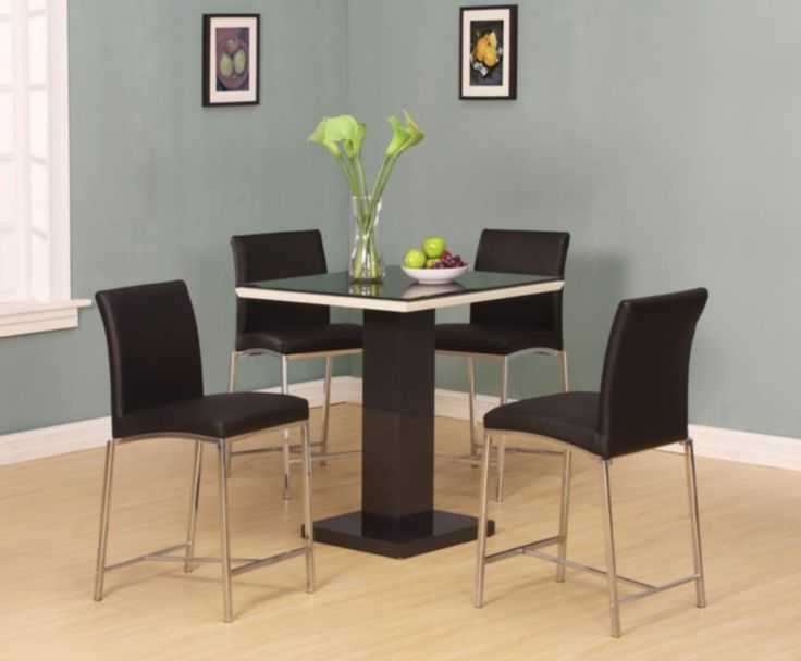 Acme Furniture - Norwin 5 Piece Counter Height Table Set in Black - 71310-5SET