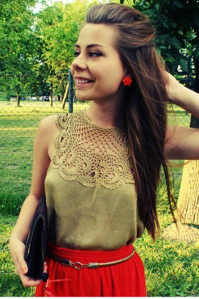 red skirt - gold crochet blouse      ♪ ♪ ... #inspiration #diy GB   http://www.pinterest.com/gigibrazil/boards/