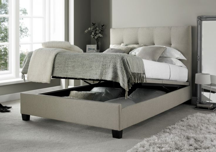 Kaydian Walkworth Ottoman Storage Bed - Mink Fabric