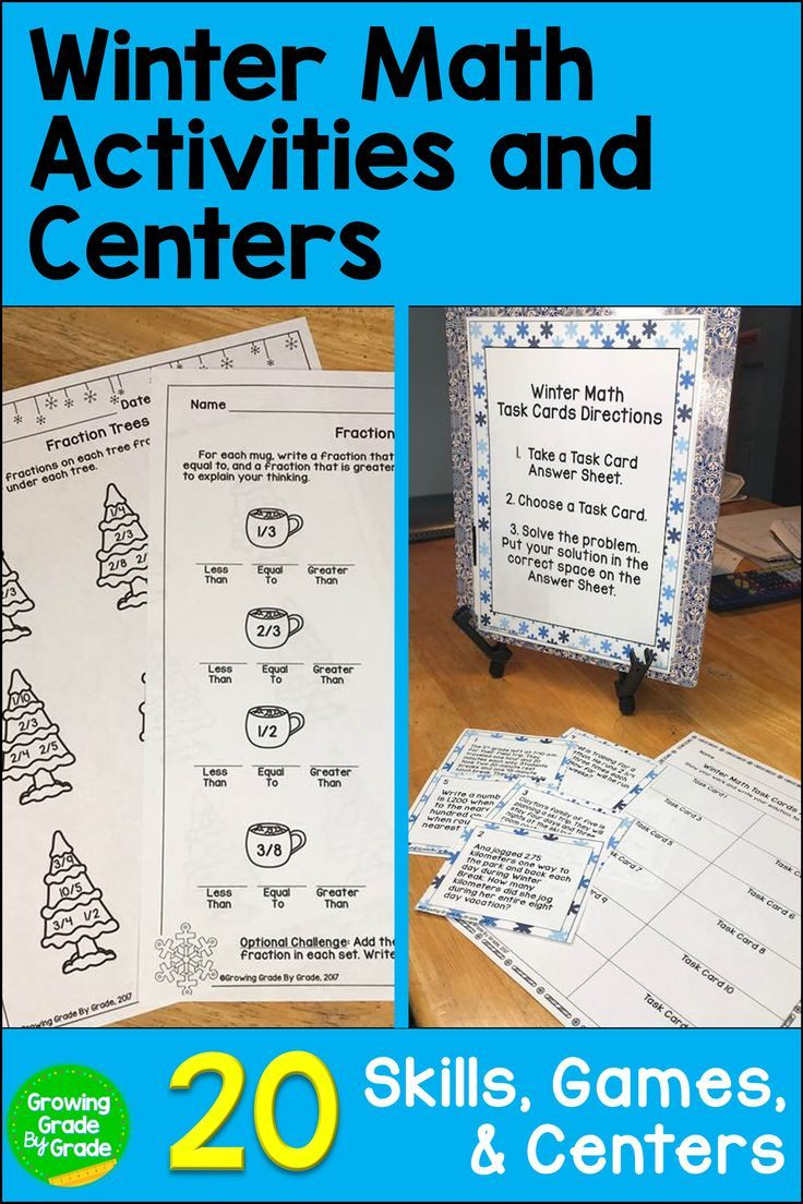 This Winter Themed Math Activities Packet Will Give Your 4th And 5th Grade Students More Challenging Pra Winter Math Winter Math Centers Winter Math Activities