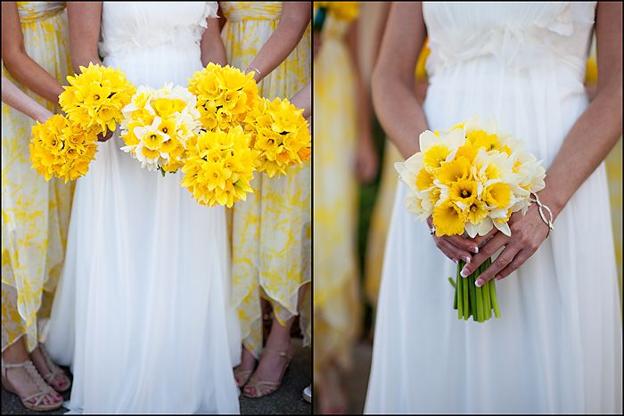I want my bouquet to be all yellow daffodils and have my bridesmaids carry either mixed white/yellow or all white daffodils against their gray dresses.