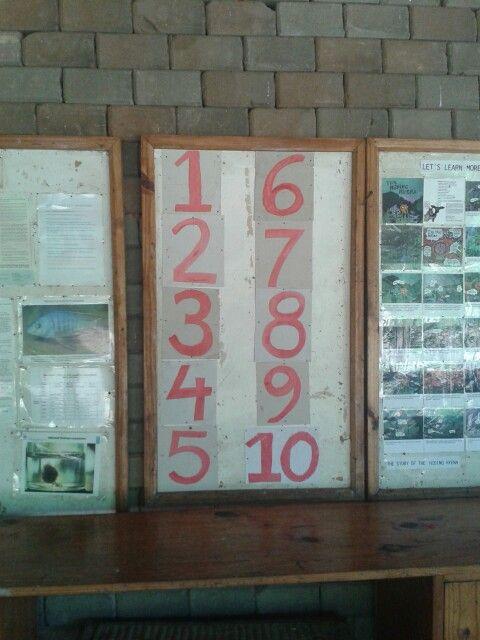 De kinderen kunnen prima tot 10 opzeggen,  maar hebben geen idee hoe de cijfers eruit zien. Daarom de getallen geschilderd.