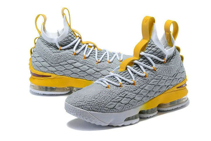 b6b9e05a8d30 2018 Nike LeBron 15 XV Grey Yellow-White Basketball Shoes