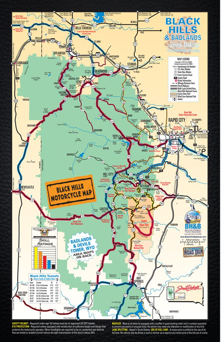 Great Map showing you the best routes to take on your motorcycle during the 2015 Sturgis Rally