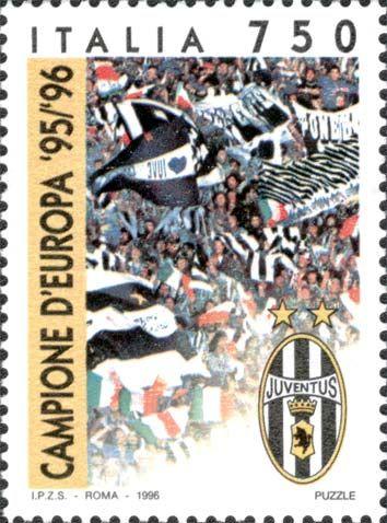 """1996 - """"Lo sport italiano"""": Juventus campione d'Europa 1995-1996 - stemma della Juventus e tifosi in festa sugli spalti di uno stadio di calcio."""