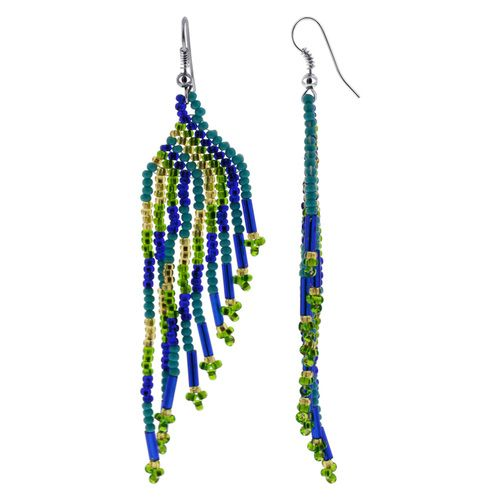 Stainless Steel Handmade Chandelier Earrings with Gold, Green and Blue Beads #IPER076
