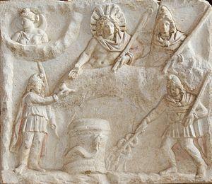 Culte de Mithra —Le banquet de Mithra, bas-relief, Musée du Louvre