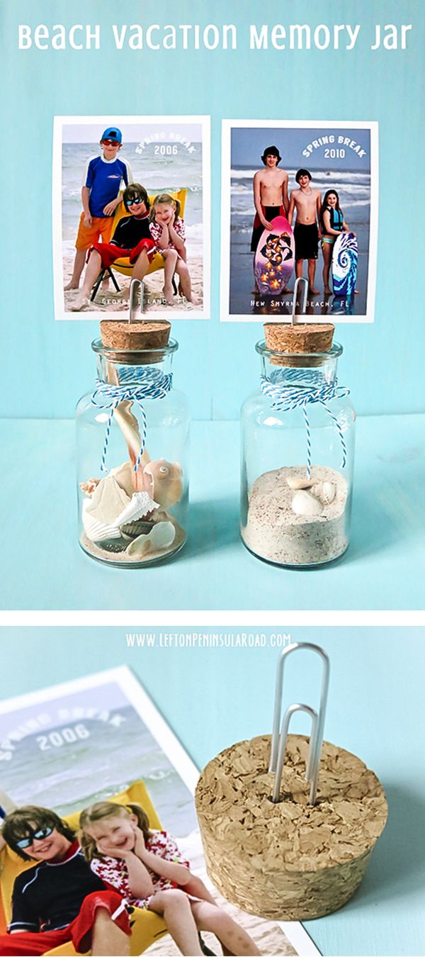 Add a little sand and some small shells or mementos to small bottles or jars to make this cute keepsake. Top with vacation photo to make it extra special. Fun way to save beach vacation memories!
