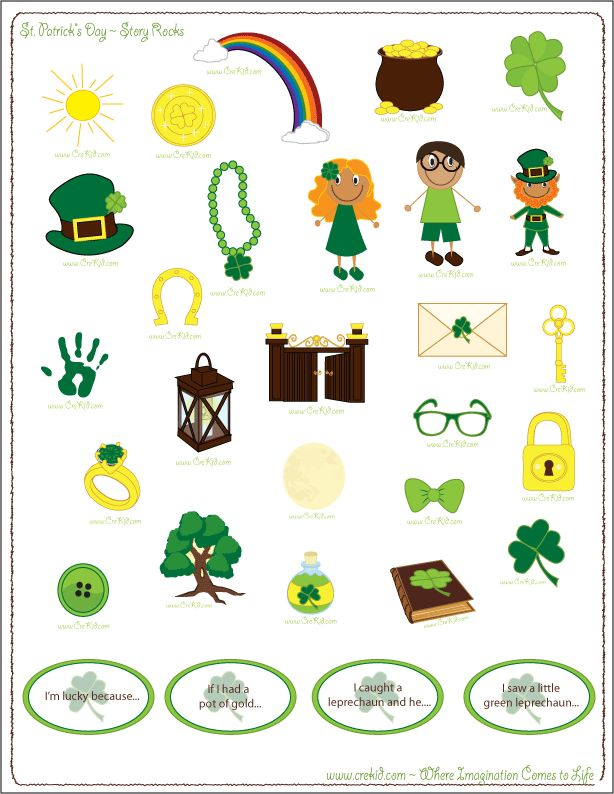 St. Patrick's Day ~ St. Patrick's Day Story Stones ~ Leprechaun ~ Luck ~ Clover ~ Four Leaf Clover ~ Rainbow ~ Luck Of the Irish ~ March ~ green ~ Pot Of Gold ~ Kindergarten ~ First Grade ~ 1st Grade ~ 2nd Grade ~ Second Grade ~ 3rd Grade ~ Third Grade ~ Activities ~ Printouts ~ Printable ~ Worksheets ~ St. Patrick's Day Theme ~ Preschool Themes ~ www.crekid.com ~ Where Creativity & Imagination Come to Life