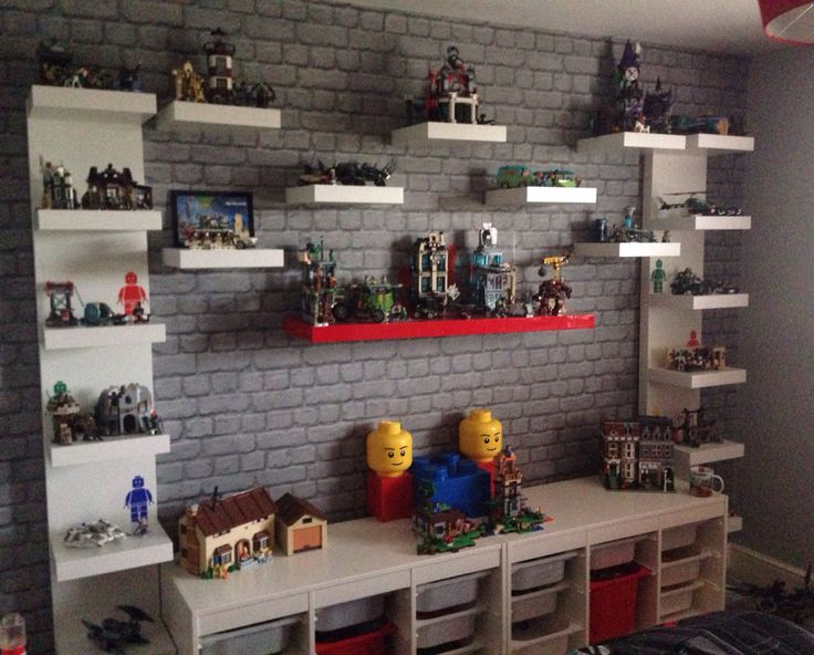 Lego creation station. Lego display unit. Lego organisation. Lego storage. Shelving unit. Lego shelving. Kids Lego themed bedroom. Play room. Den. Boys room.