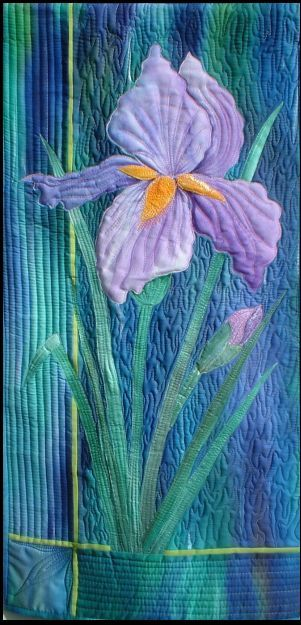 Purple and turquoise Iris by Maureen Thomas at A Quilt Artist. Hand painted applique