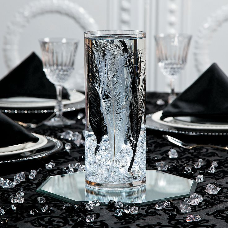 Ostrich Feathers Wedding Centerpiece Idea - OrientalTrading.com