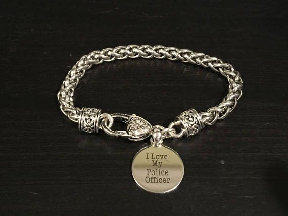 I Love MY Police Officer Engraved Charm Bracelet