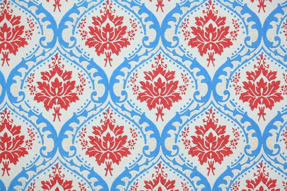 1970's Vintage Wallpaper Red and Blue Damask by kitschykoocollage, $14.00