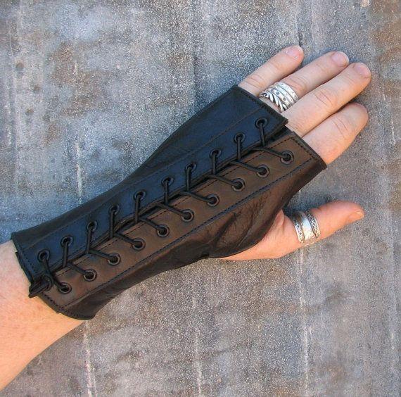 One Pair Steampunk Black Leather Fingerless Gloves by VampieOodles, $40.00