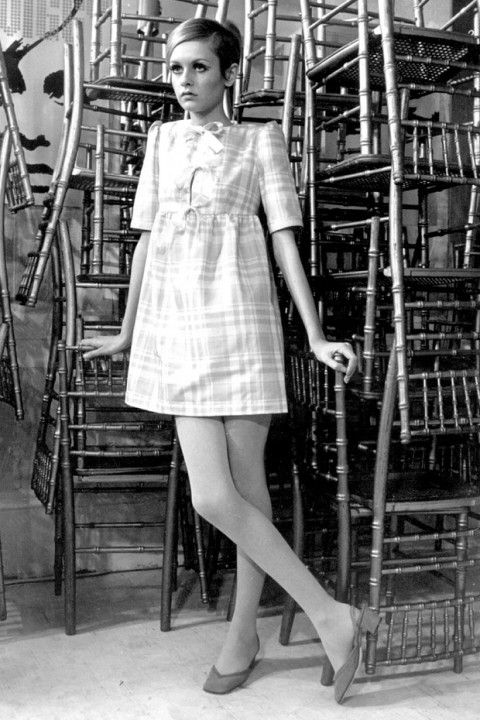 When: 1967  Where: Modelling one of the dresses from her collection, London
