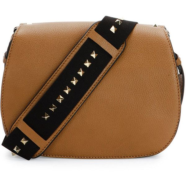 Valentino Band Rockstud Round Messenger Bag ($2,375) ❤ liked on Polyvore featuring bags, messenger bags, handbags, camel, brown crossbody, flap bag, crossbody bags, valentino bags and flap crossbody